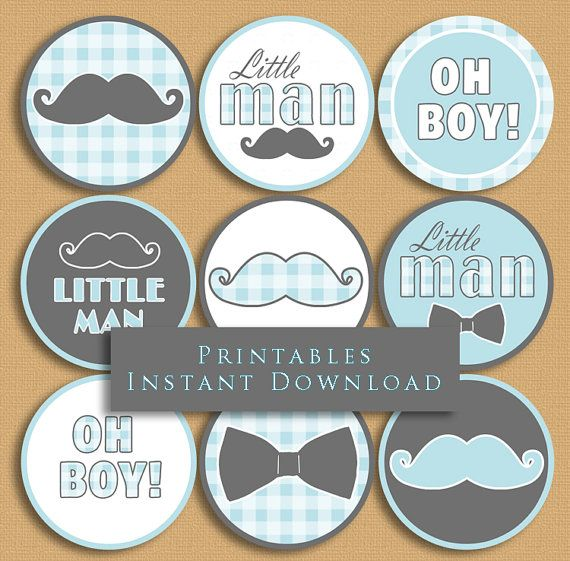 Little Man Baby Shower Cupcake Toppers by JannaSalakDesigns