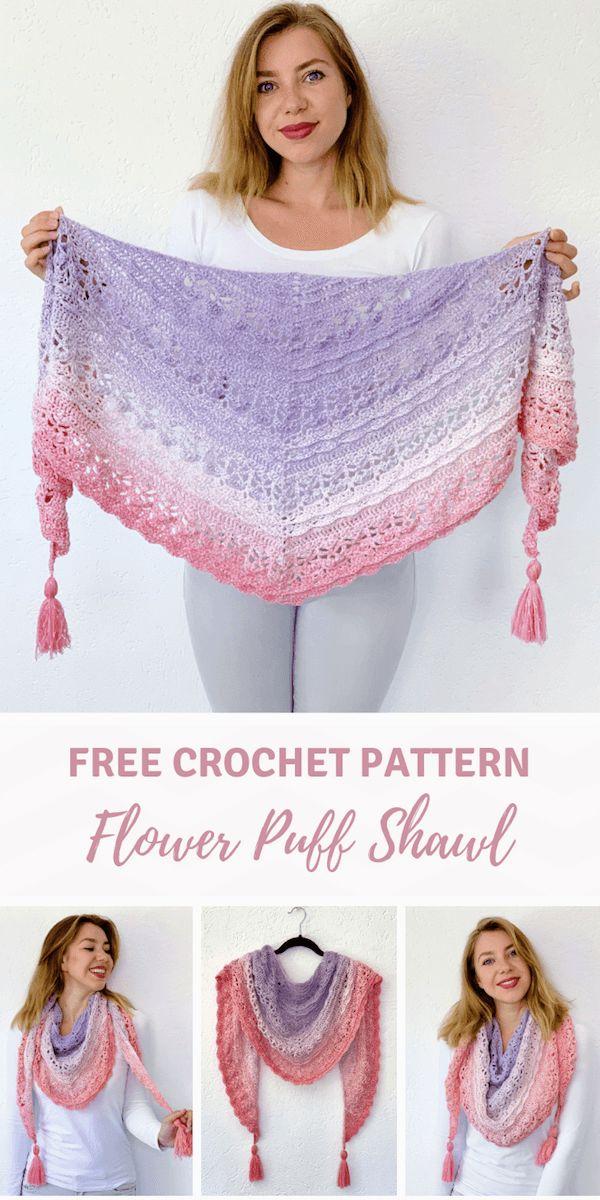 Crochet shawl tutorial: Flower Puff Shawl by Wilmade (FREE)