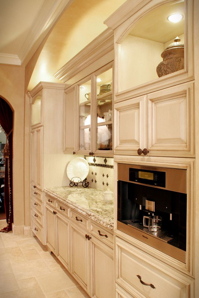 Splashy bunn coffee makers in Kitchen Mediterranean with Pantry Lighting next to Butler Pantry alongside Coffee Station and Built In Coffee Maker