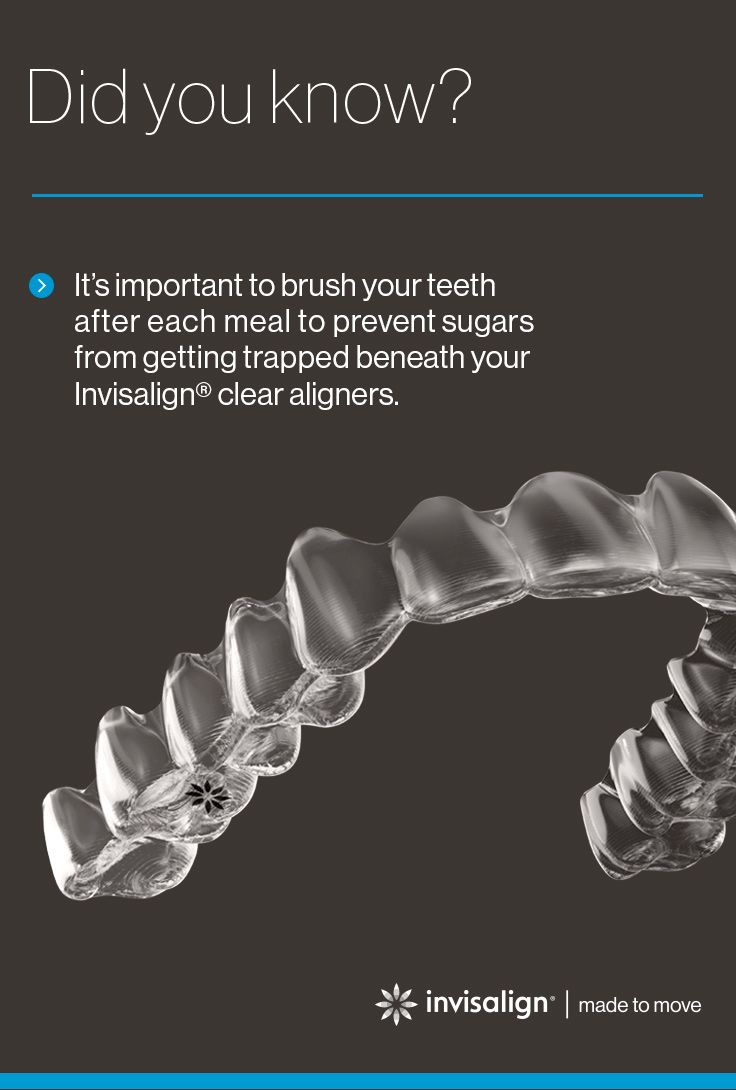 Unlike traditional braces, there are no restrictions on what you can/cannot eat during your Invisalign® treatment since your aligners are removable. It's important to brush your teeth before putting your aligners back in to prevent sugars from being trapped beneath your aligners and to prevent food or drinks from discoloring the clear aligner material.