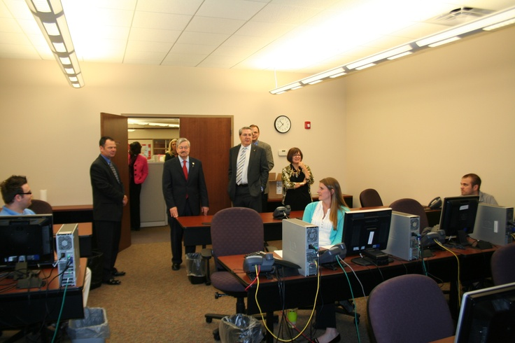 Iowa Governor Terry Branstad visiting a Sedgwick colleague