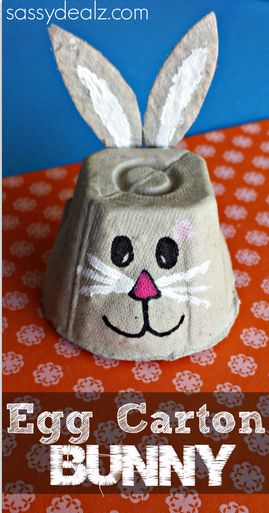 This is a super cheap Easter craft for the kids to make! An egg carton bunny to play with!