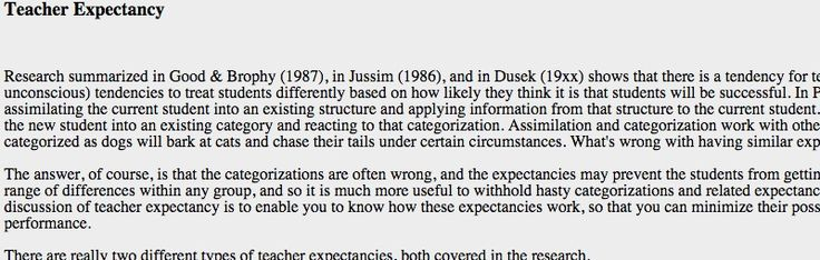 Notes from an Ed Psych class about teacher expectancy
