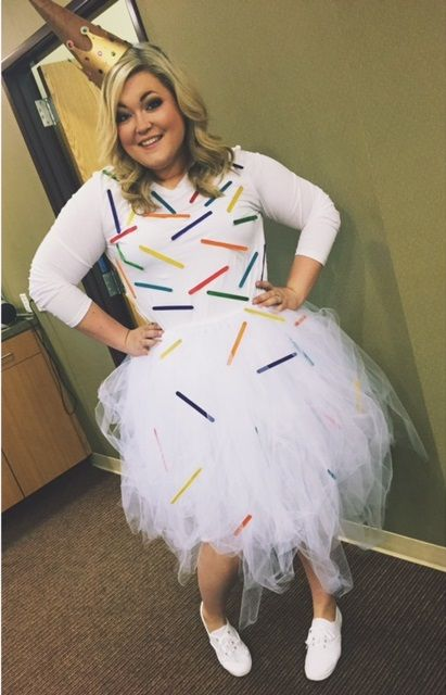 Dairy Queen DIY Woman's Halloween Costume - Ice Cream Cone - Popsicle Sticks + Tulle + T-Shirt + Construction Paper + Hot Glue