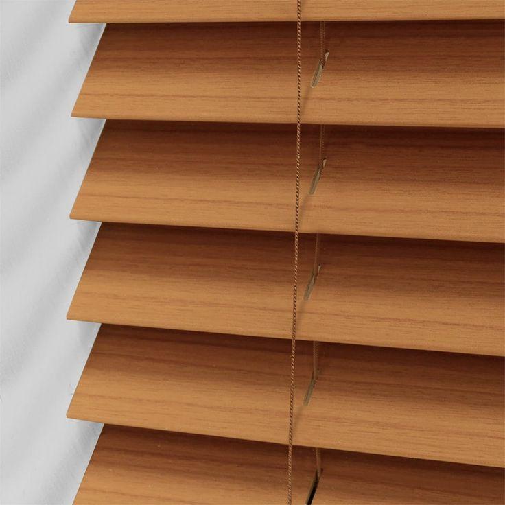warm oak faux wood blind 50mm slat