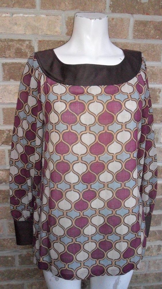 0836fcb42184 Women s Tory Burch Tunic Blouse Top Multi Color W Embossed Button Cuffs Sz  8