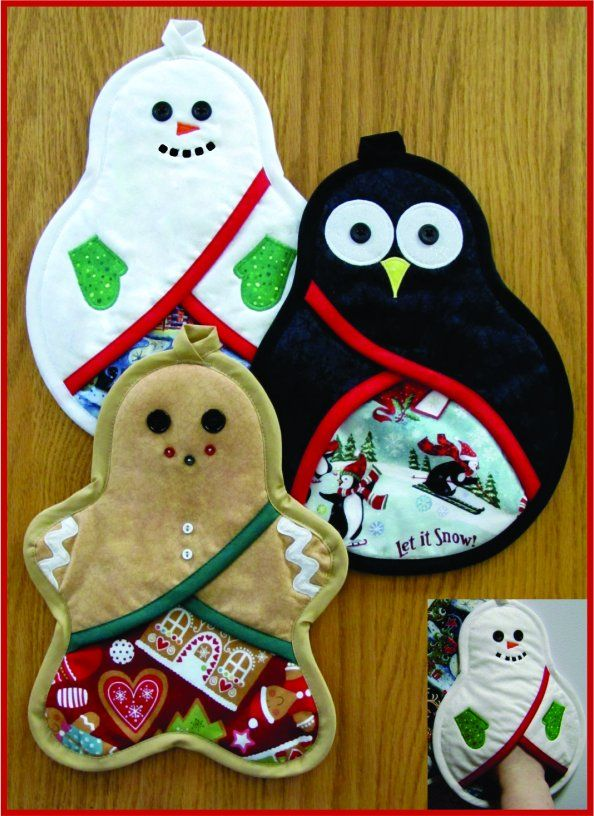 Full-sized pattern pieces to sew up a group of cute Holiday pot holders, with a…