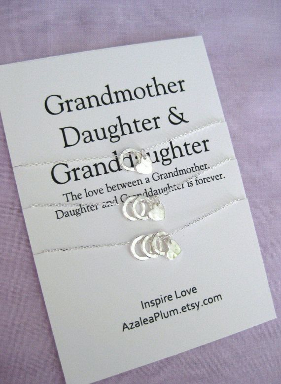 Grandmother-Birthday-Gifts, 60th Birthday Gifts-Mother Daughter Grandmother Gift >>> *** G E N E R A T I O N S *** *** A set of 3 necklaces for the love between Grandmother Mother Granddaughter *** Meaningful simple jewelry for the love between Grandmother Mother Daughter to