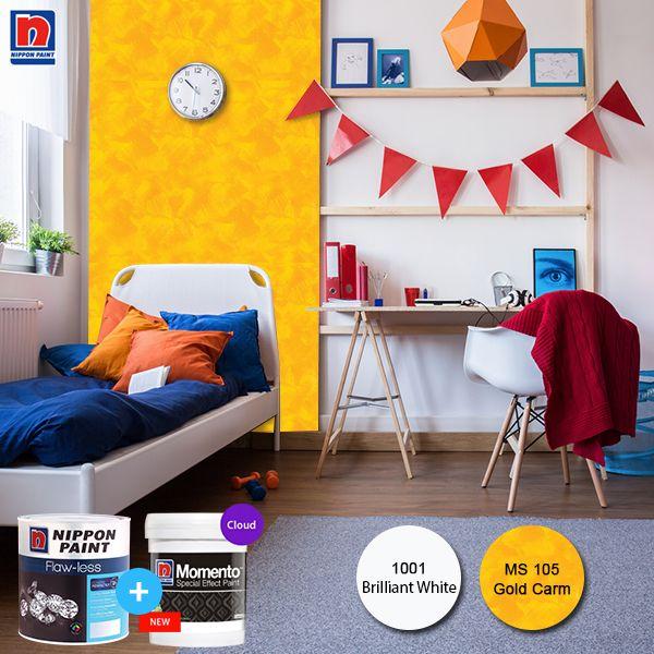 Kamar anak laki-laki identik dengan warna-warna solid. Untuk memberikan kesan lebih luas dan simple pilih warna kamar yang cerah dan aplikasikan Nippon Momento yang sesuai dengan warna pada kamar. Sahabat Nippon Paint bisa lihat variasi Nippon Momento Special Effect Paint lainnya di http://bit.ly/nippon-momento-special-effect-paint  #ImajinasiTanpaKompromi #WarnaWarniLebaran