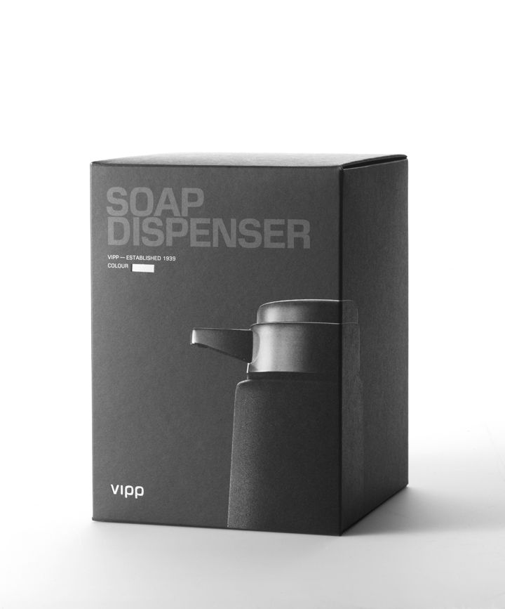 Vipp packaging design by Vipp & Boxhouse branding. The product works nicely on the tone on tone box.