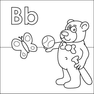 Letter b coloring page bear bat ball butterfly from for Letter b coloring pages for preschoolers