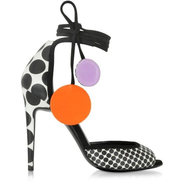 Pierre Hardy Shoes Black and White Leather Lola Sandal ($930) ❤ liked on Polyvore featuring shoes, sandals, leather sole sandals, open toe shoes, ankle tie sandals, black and white shoes and polka dot sandals