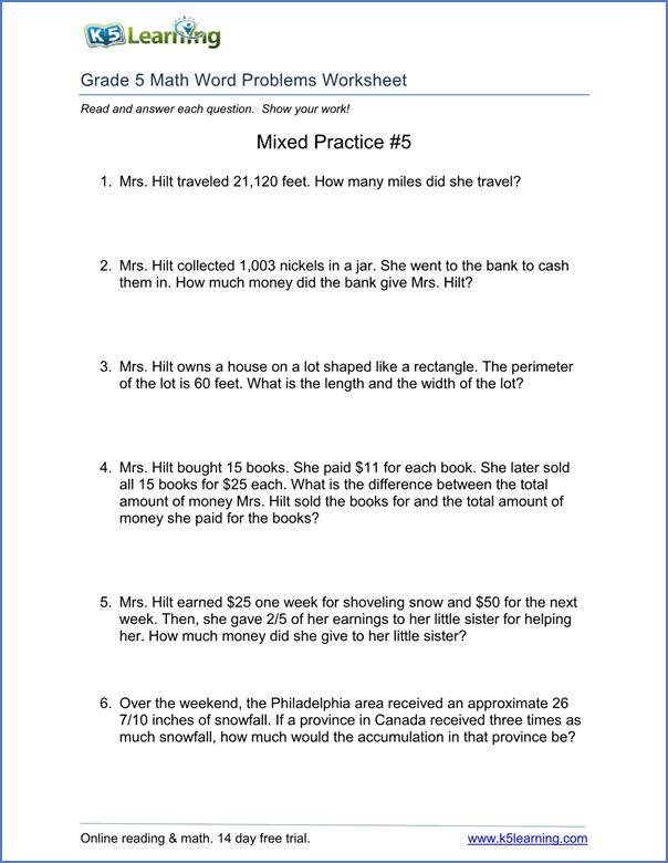 Grade 5 word problems worksheet | Math word problems ...