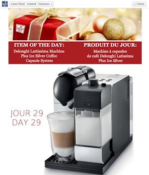 31 jours de cadeaux avec Linen Chest. Aujourd'hui : Machine à capsules de café Delonghi Latissima Plus Ice Silver