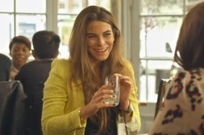 Made in Chelsea Episode 6 on Victoria wearing ayellow jumper when at lunch with Rosie and Jamie