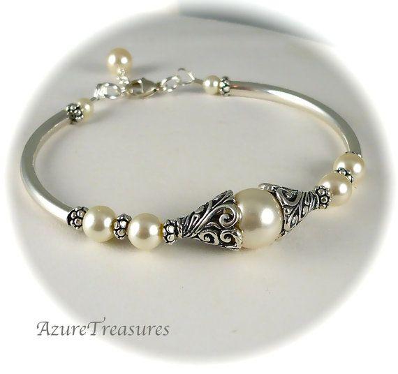 Bali Pearl Bracelet, Pearl Bangle, Antiqued Filigree Sterling Silver Bangle Bracelet Bridesmaids, Bridal, Wedding Jewelry