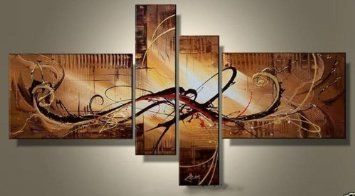 Wieco Art-Stretched and Framed 100% Hand-painted Wall Art Weak Yellow Morning Home Decoration Modern Abstract Oil Paintings on Canvas 4pcs/set III