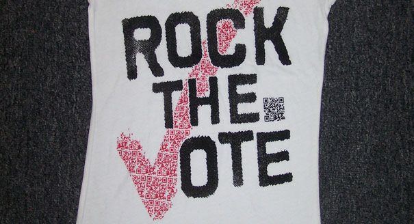 """At SXSW this week: """"Scan to Vote"""" QR code t-shirts that will allow users to register to vote directly from whatever smartphone they use to scan the QR code."""
