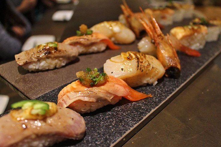 must-try @JaBistro222 'aburi'chef's choice of 4 nigiri 3 oshizushi #jabistro #bestsushi #toronto #japanese #restaurant #sake #bistro #sashimi #sushi #foodie #foodporn #canada #finedining #chef #fresh #best #tapas #bar #pub #カナダ #刺身 #炙り #aburi by jabistro222