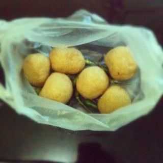 Tahu bulat is Indonesia traditional food created by soybean, its delicious if you eat with some green chili :D