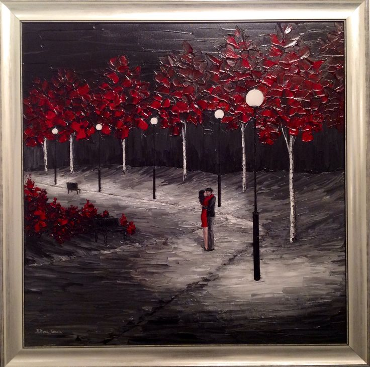 'Embrace' by Brenda Banda Johnson is a romantic piece done in acrylic with a palette knife and resin - but only on the lamps. Great effect!