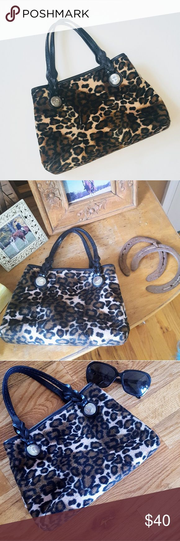 """Brighton Tote Leopard Print Bag Super cute! Note that the hanging heart fob is missing. Otherwise very good condition. Fuzzy texture. Style# 080368. Lovely details. I put a pic next to sunglasses so you can get an idea of the size, and I took pics in various lighting so you can get an idea of the colors.  Approx 10.5"""" width, 7"""" height, 5"""" strap drop, 4"""" depth Brighton Bags Totes"""