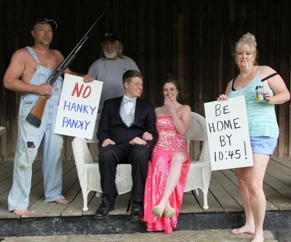 Senior photography pose. Formal unique formal funny couple with parents. Parental advice. Shotgun. Mom and dad. Mother and father hilarious. Funniest prom picture ever.