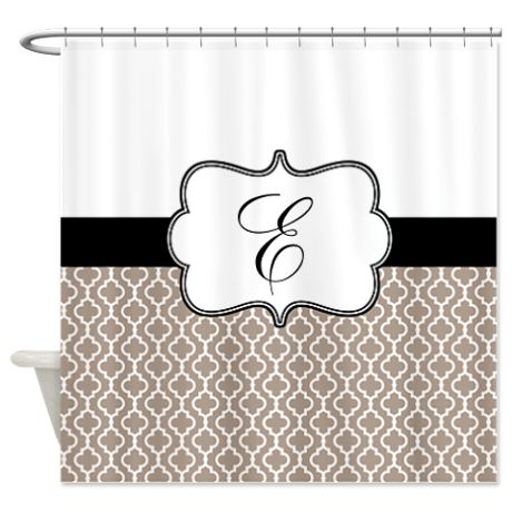 Beige Black Quatrefoil Monogram Shower Curtain on CafePress.com