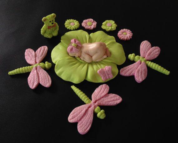 Fondant baby meisje drangonflies cake topper voor Baby Shower, verjaardag, partij gunst