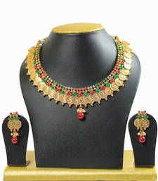 Buy Maroon   Kundan Gold Plated Strand Necklace With Earings  For Women necklace-set online