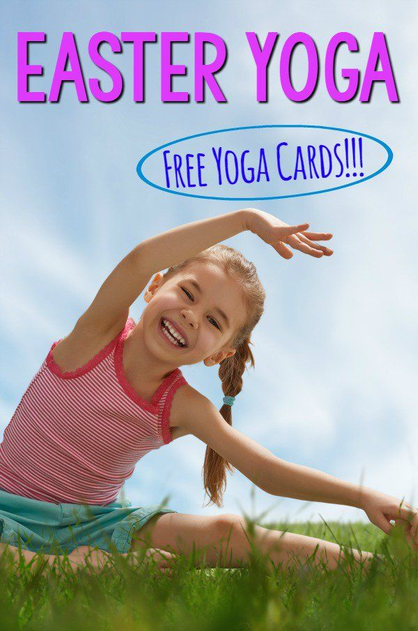 Easter Themed Yoga Pose Ideas. Awesome kids yoga with FREE yoga cards. Perfect Easter Gross Motor Idea.