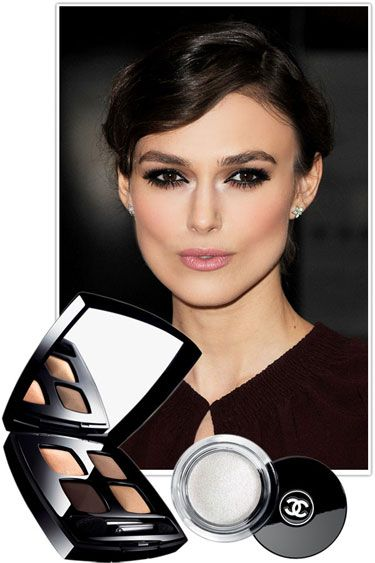 THE BEST NEW SMOKY EYE LOOKS - Keira Knightley |  Work your usual dark liner and shadow all around the eyes, but finish with a touch of sparkly platinum cream shadow in the inner corners for rich contrast.