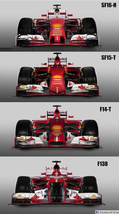 Front view of the last four Ferrari Formula One challengers.