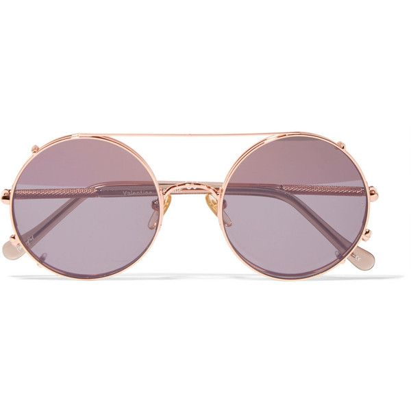 Sunday Somewhere Valentine rose gold-tone sunglasses ($290) ❤ liked on Polyvore featuring accessories, eyewear, sunglasses, glasses, pink, pink lens sunglasses, rose glasses, uv protection sunglasses, rose lens sunglasses and uv protection glasses
