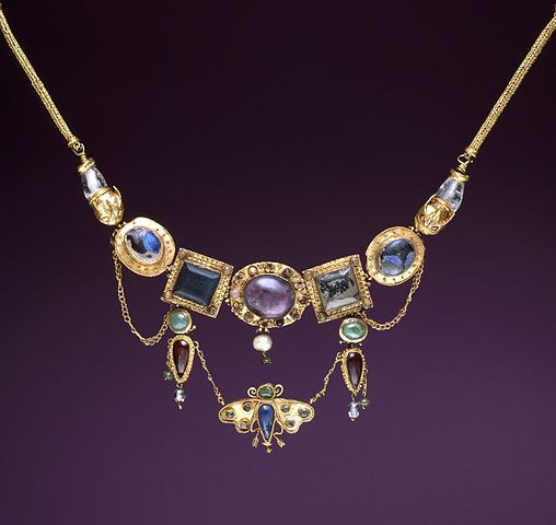 Ancient Greek Jewelry: Necklace with Butterfly Pendant with gold, amethyst, chalcedony, emerald, rock crystal, pearl, and colored glass