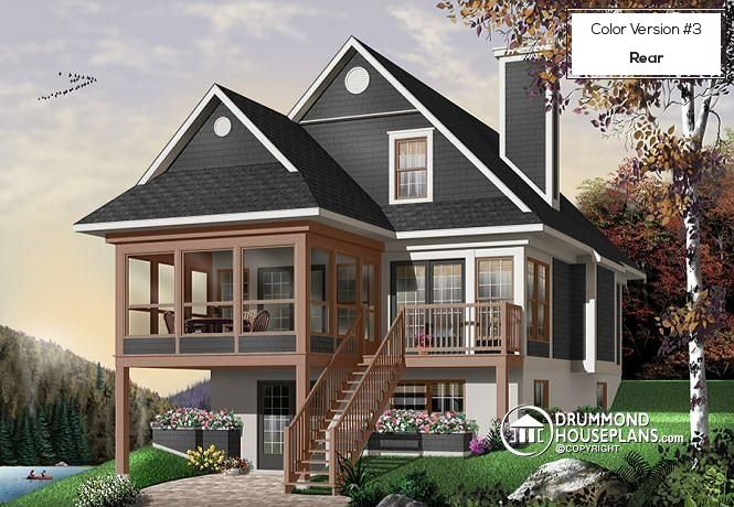 For a judicious choice of a four season vacation home (# 3901)  Discover its floor plans, similar plans & more information here :  http://www.drummondhouseplans.com/house-plan-detail/info/the-cliffside-3-cottages-chalets-1000367.html