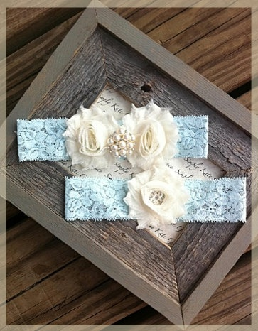 Something Blue Wedding Garter- Vintage Wedding Bridal Garter and Toss Garter- Ivory and Pearl Rhinestone Garter-Toss Garter. $23.50, via Etsy.
