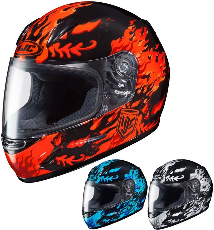 HJC CL-Y Flame Face Youth Street DOT Motorcycle Helmets