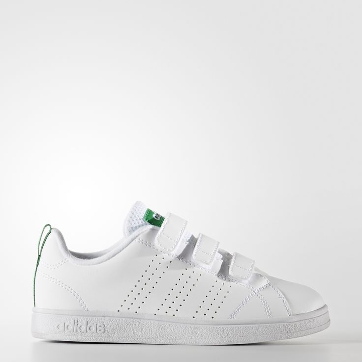These kids& shoes have a smooth leather-like upper with subtle adidas logo  details for a clean, stylish look.