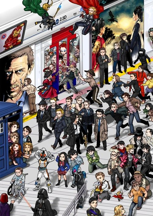 Forget Waldo, Where's Your Fandom?-- I found IronMan, Thor, Loki, Captain America, Darth Vader, Sherlock and Watson, TARDIS, Rory Amy River Jack 11, Professor X, and Patrick Jane(3 piece suit is a dead give away)being chased by Lisbon(those two properly surprised me).