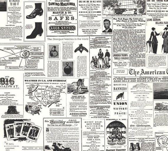 Vintage Newsprint Replica Wallpaper Black And White