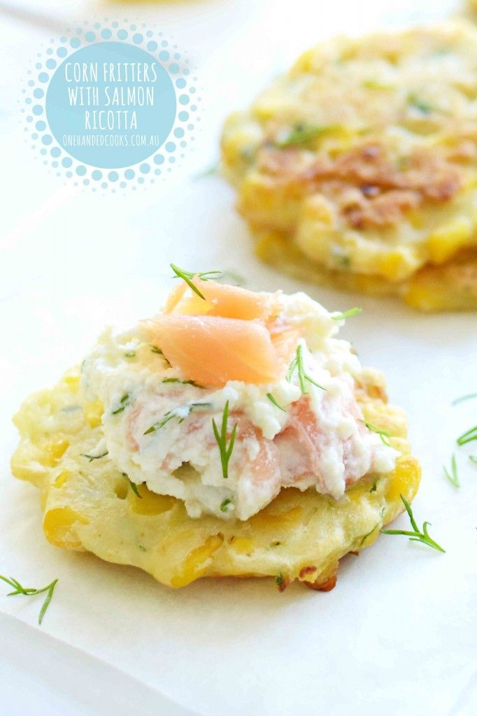 corn fritter with salmon ricotta