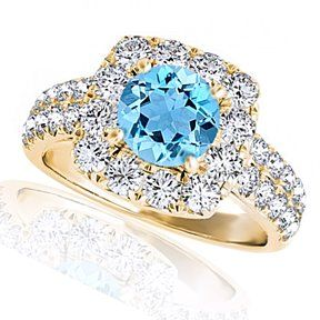 2.10 Carat Blue And White Solitaire Halo Bridal Ring 14 Yellow Gold # With Free Stud Earrings by JewelryHub on Opensky