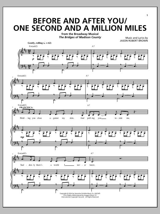 Jason Robert Brown: Before And After You/One Second And A Million Miles (sheet music from 'The Bridges of Madison County')