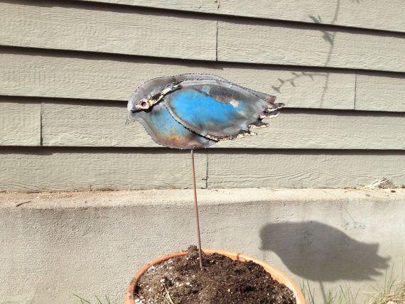 Garden Art Blue Bird from a Recycled Barrel Lid on Etsy, $40.00
