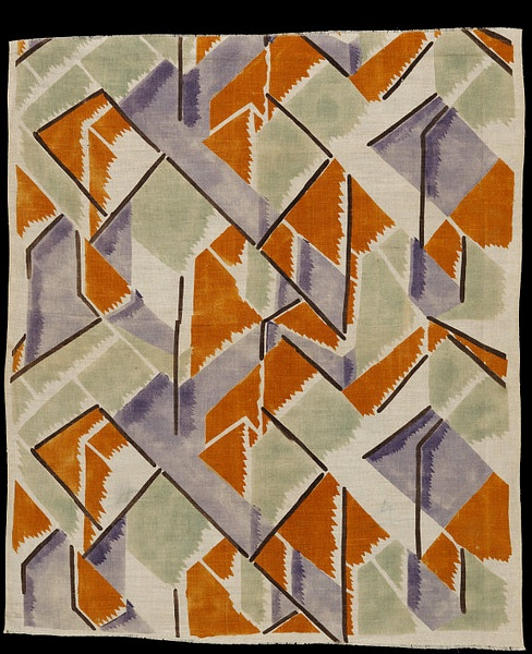 """""""Maude"""" fabric,printed linen, designed by Vanessa Bell for Omega Workshops,1913"""
