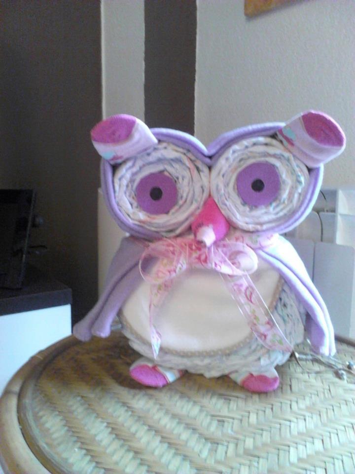 diapers cake, owl diaper, buho de pañales