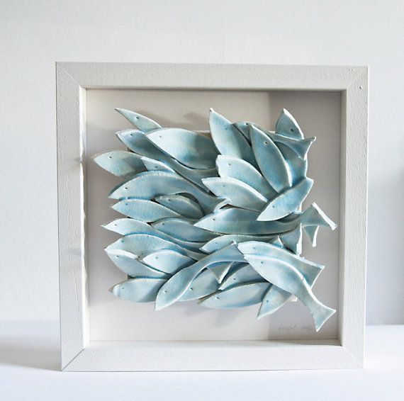 READY TO SHIP ceramic wall art, fish tile, sculptural pottery wall hanging, modern, nautical home decor in white and light blue, irish