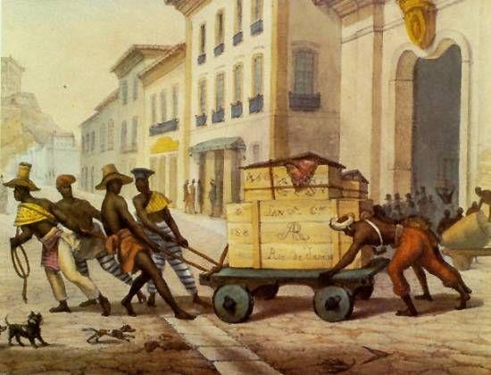 Negros de Carro - parte superior da prancha 38, tomo I, de Viagem Pitoresca e Histórica ao Brasil (Voyage Pitoresque et Historique au Brésil)