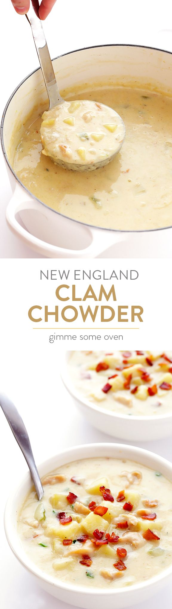 This New England Clam Chowder soup is made lighter with a few simple tweaks, yet it's still super creamy and delicious! | gimmesomeoven.com